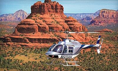 helicopter in the red rocks of sedona